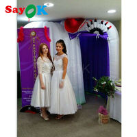 factory price 3*2*2.3m best inflatable snail photo booths for sale white cube tent wedding decoration with digital logo printing