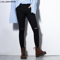 Men Black Skinny Jeans Ripped Knee Broken Denim Pants New 2017 Korean Fashion Male Distressed Slim Elastic Jeans Free Shipping