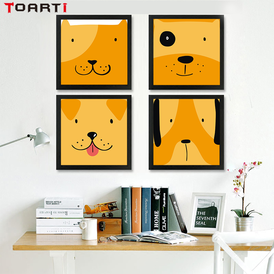 Cartoon Animas Face DIY Wall Art Canvas Painting Posters And Print ...