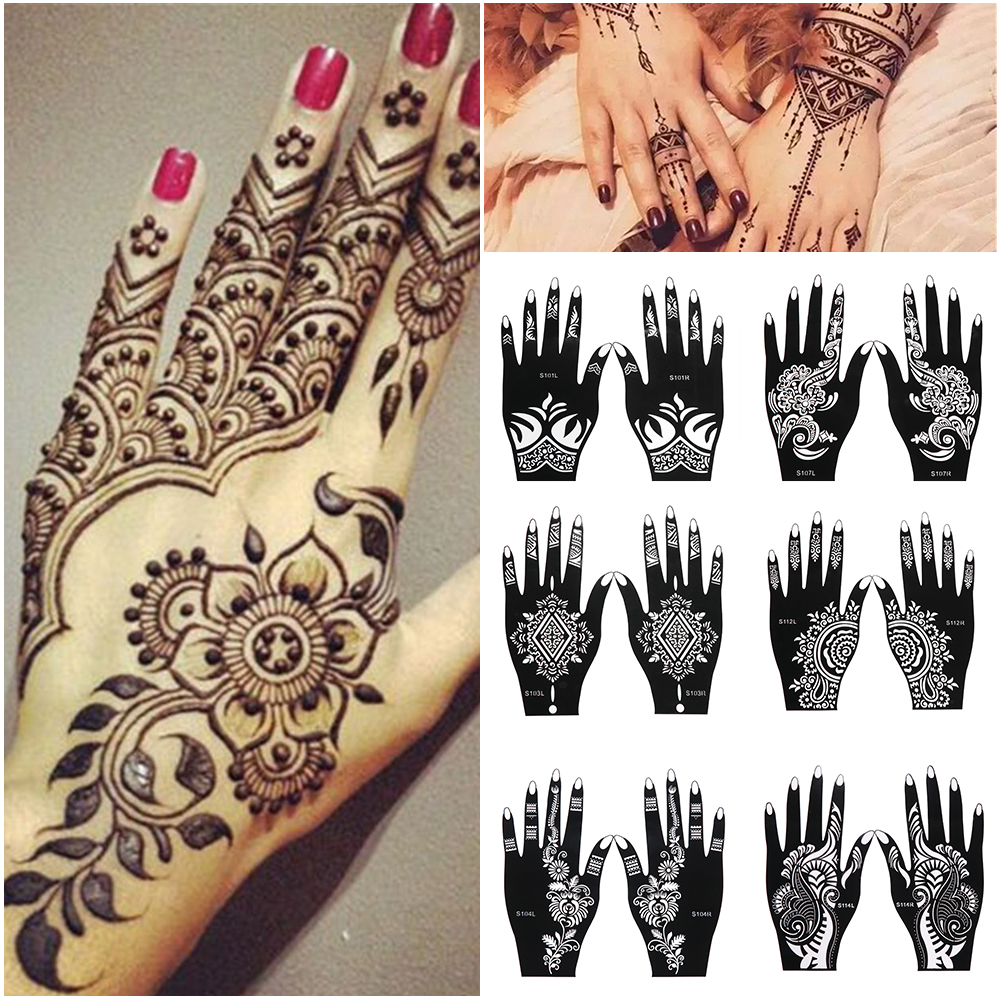 Professional Henna Tattoo Artists For Hire In Austin: 1pair/2Pcs Professional Henna Stencil Temporary Hand