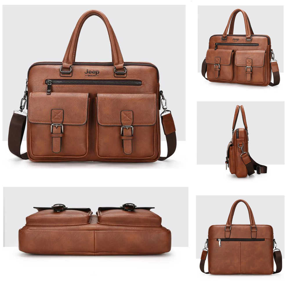 Man Leather Briefcases Bag Jeep Buluo Famous Brand Business Handbags Corssbody Tote Hand Bags For Laptop Men Shoulder Bags 8001