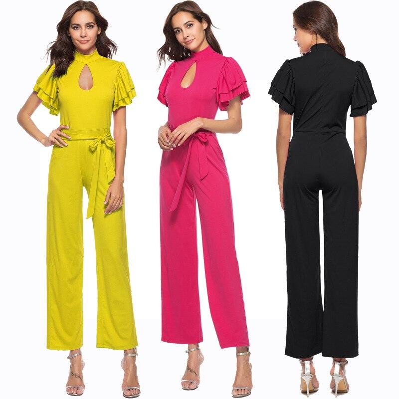 LXUNYI Summer Womens Wide Leg jumpsuit Romper Turtleneck Hollow Belt Slim Ruffles Zipper Straight jumpsuits For Women Elegant