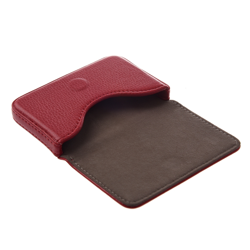 Business Credit Card Case Holder Currency Ticket PU Leather Red