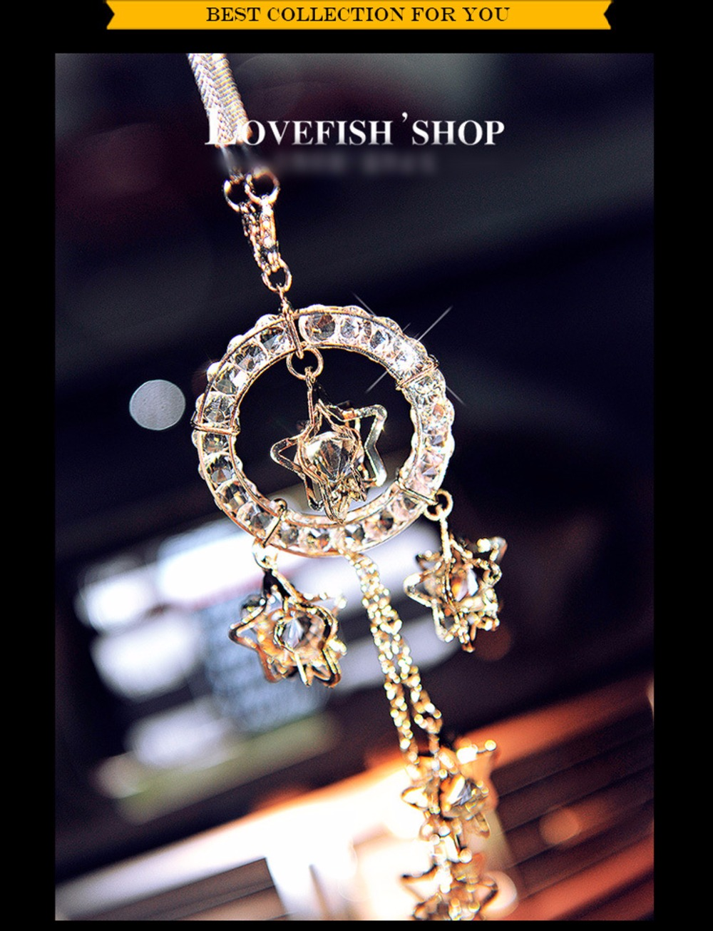 Car Rearview <font><b>Mirror</b></font> Hanging Crystal Charm Dangling Pendant Ornament Car Interior Decoration Accessories 2016 Best Girl Gift