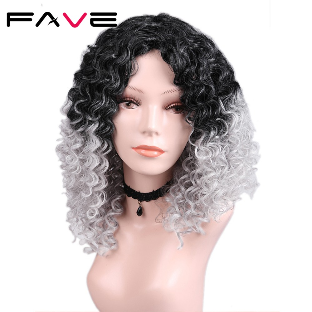 FAVE Synthetic Wig Afro Curly For Black Women Kinky Curly
