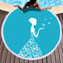 Boho Microfiber Beach Towel Butterfly Girl Sport Yoga Blanket Summer Swimming Bath Round 150cm
