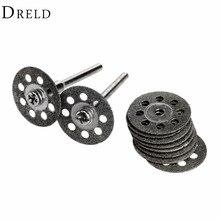 Mini disco de roda de moagem de diamante 20mm, serra circular para broca, ferramenta rotativa, acessórios de dremel, disco de corte dremel com 10 peças para metal