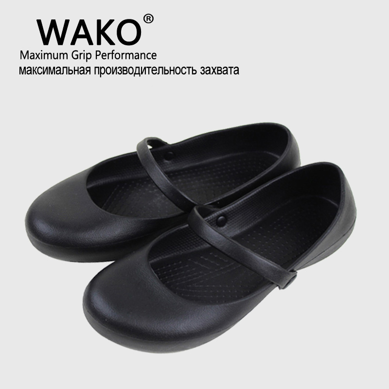 WAKO Professional Chef Work Anti-slip EVA Surgical Shoes Women Cook Kitchen Shoes Black Shoes For Ladies plus size women s working clogs shoes eva black garden mule clog kitchen work slippers nurse chef shoes oil proof woman ladies