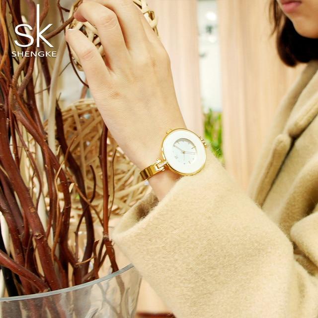 ShengKe Luxury Gold Women Watches Minimalism Fashion Stainless Steel Lady's Golden Bracelet Watch Wristwatch Female Gift Clock 4
