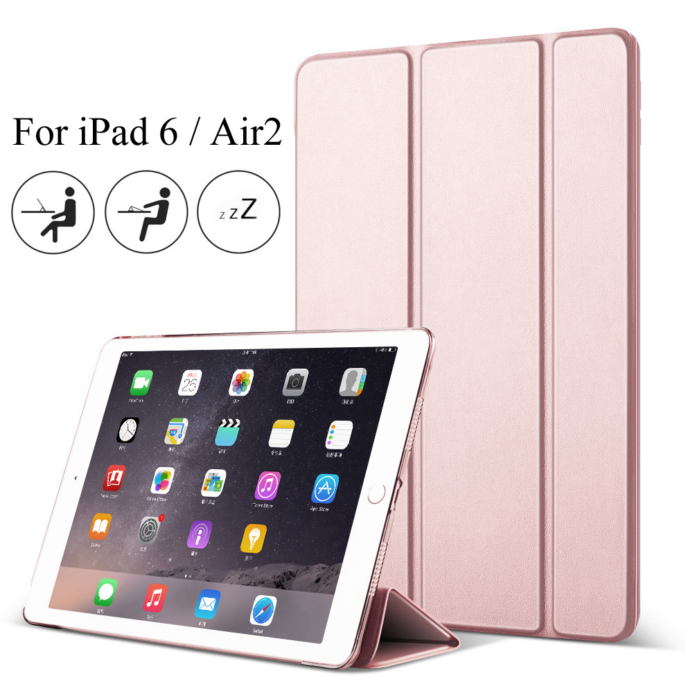 For iPad6 Leather Case Soft TPU Back Trifold Smart Cover Shockproof Protective Case For iPad 6 / Air2 + Gift surehin nice tpu silicone soft edge cover for apple ipad air 2 case leather sleeve transparent kids thin smart cover case skin