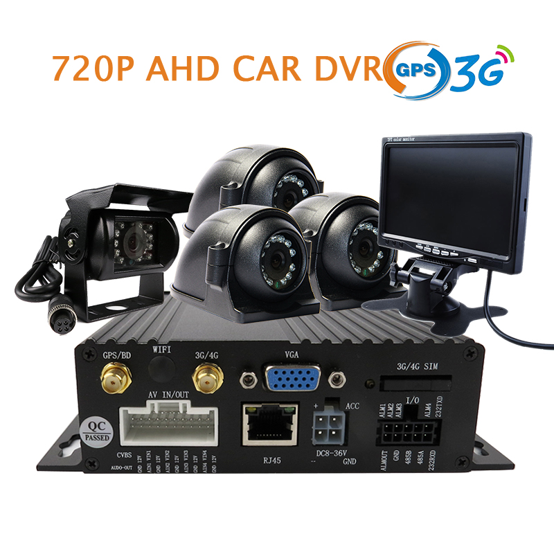 4CH H.264 GPS 3G SD 720P AHD Car DVR MDVR Video Recorder + 4 Pcs Back Rear Side Front View Metal Car Truck Camera + 7 Monitor