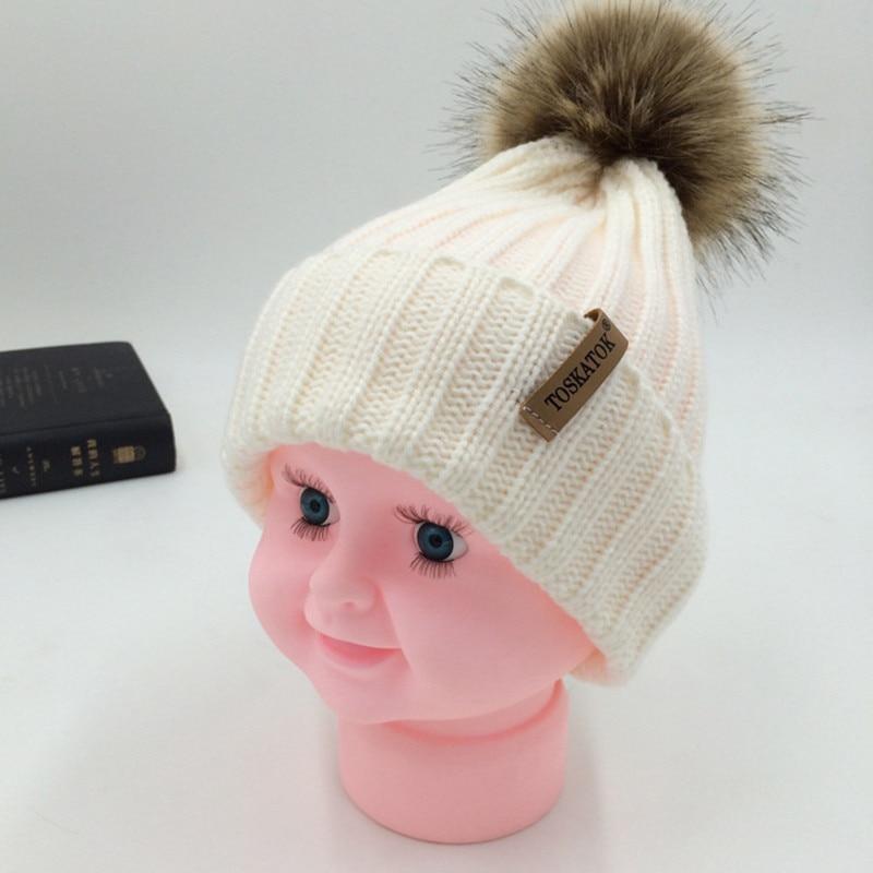 Mom And Kids Wool Knitted Warm Pom Pom Hat For Women 2018 Winter Childrens Faux Fur Pompom Cap Boys Girls Skullies Beanie Gorro
