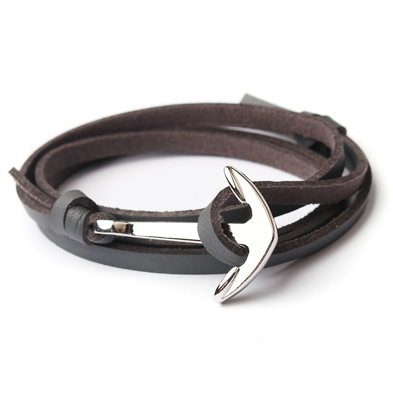 NIUYITID Men Anchor Bracelet Jewelry Brown Black Rope Chain Leather Bracelets Trendy 2019 Unisex Women Man Bracelent Male (4)