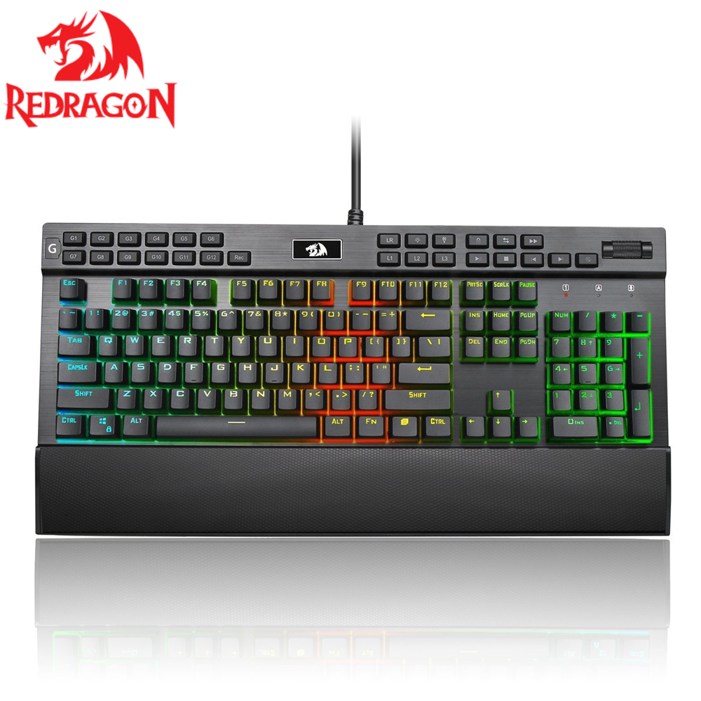 Redragon USB mechanical gaming keyboard ergonomic 131 Keys Programmable RGB backlit light Full key anti ghosting