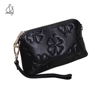 Women Cow Leather Genuine Embroidery Embossing Printing Retro Floral Long Wallet Purse With Wallets And Purses Handbags Maidy