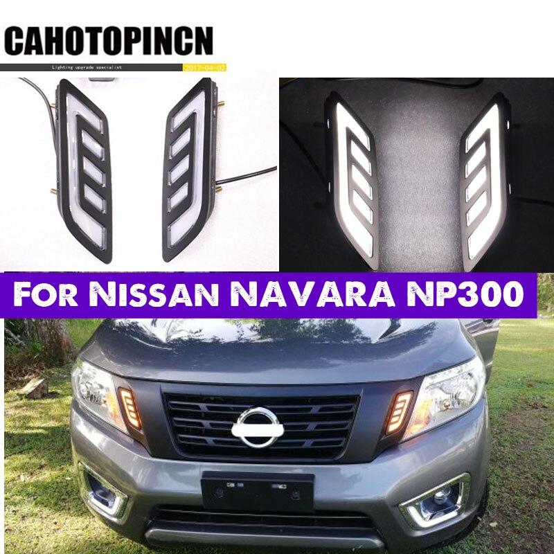 For Nissan NAVARA NP300 D23 2015 2016 2017 2018 2019 DRL Daytime Running Lights mask grille