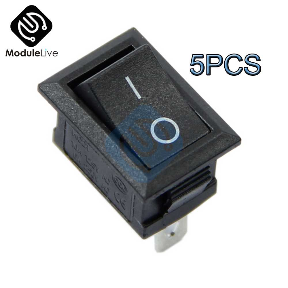 5PCS AC 6A/250V 10A/125V 3 Spille Spille s Interruttore Terminale Snap-in on-Off Nero Barca Interruttore A Bilanciere