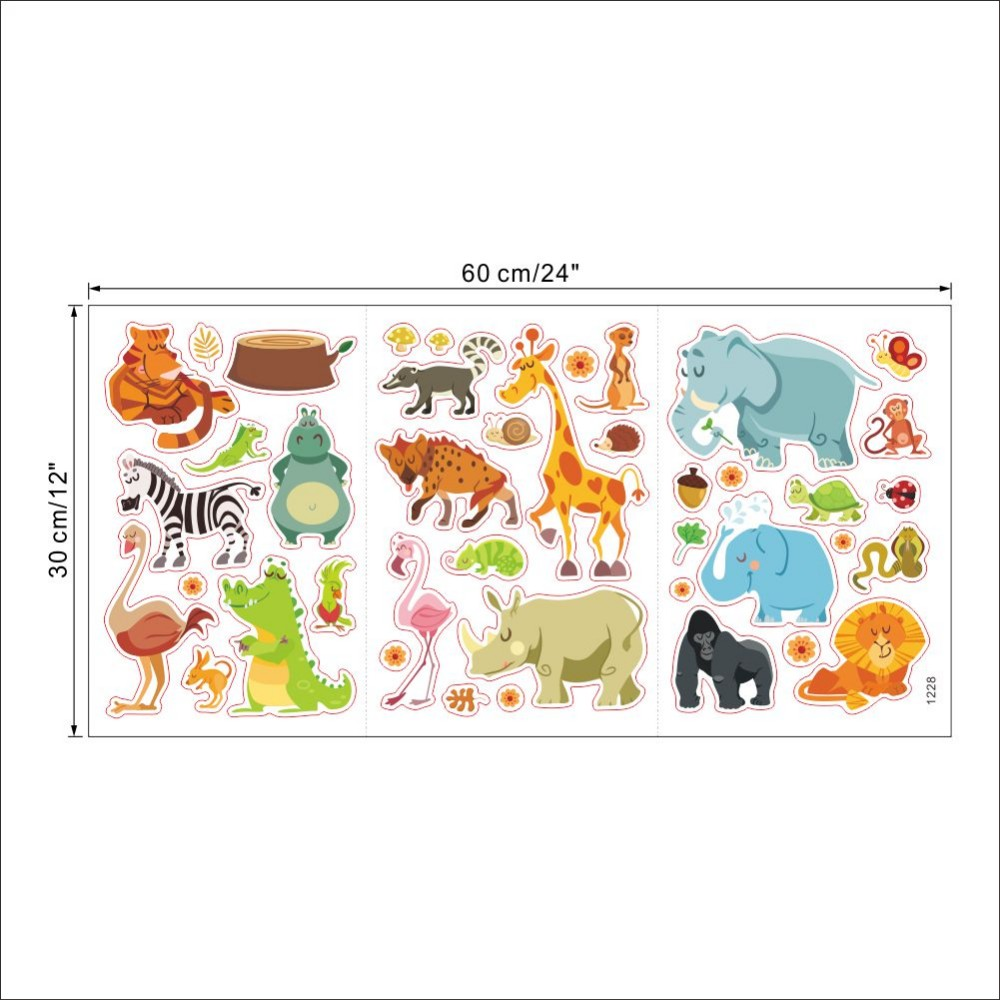 Jungle wild animals wall sticker for kids baby nursery room cartoon wall stickers home decor funiture decoration diy pvc