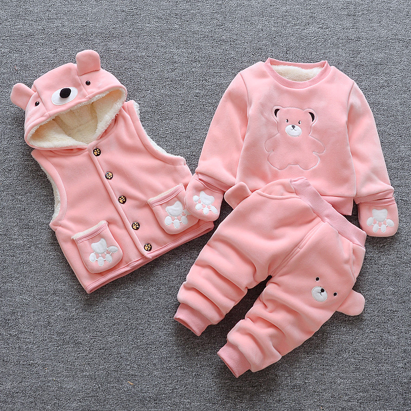 BbibCola baby girls winter clothing set toddler girl tracksuits costume casual kids sport suits infant 3pcs