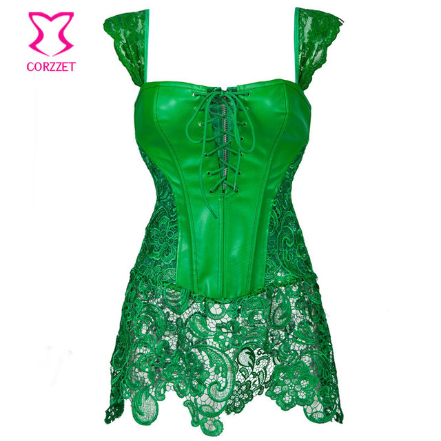 973d4c939e904 Green Floral Lace   Leather Gothic Steampunk Corset Burlesque Dress Costume  Sexy Waist Trainer Corsets Plus Size Lingerie 6XL