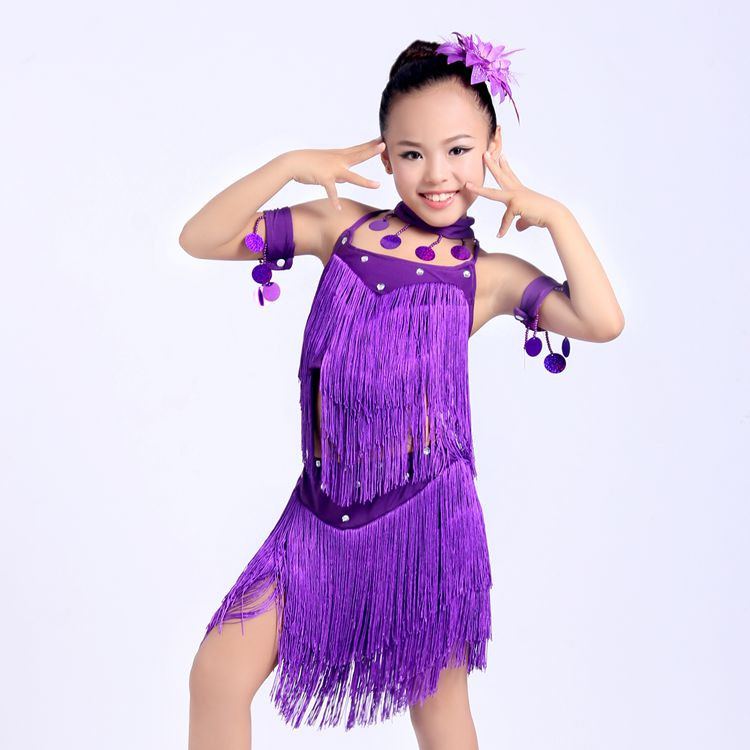 Show details for New Girls Tassel Latin Dance Dress Children Purple/Red Sequined Tango/Rumba Costumes  Practice Dress Competition Dance Costumes