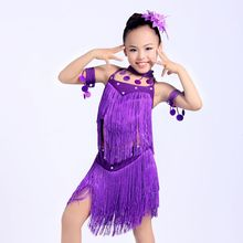 New girls tassel latin dance dress children purple/red sequined tango/rumba costumes  practice dress competition dance costumes