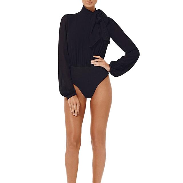 Pettigirl Bodsuit New Sheer Chiffon High Neck With Pussybow Tie Bandage Bodysuit Black Long Sleeve Bodysuits