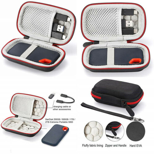 CA Hard Carry Case for SanDisk 500GB / 250GB / 1TB / 2TB Extreme Portable SSD Travel with Mesh Pocket Storage Bag Zipper Box
