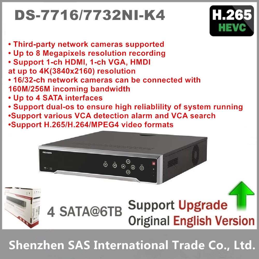 Hikvision Original English DS 7716NI K4 16P DS 7732NI K4 16P 32CH NVR With 4SATA 4K