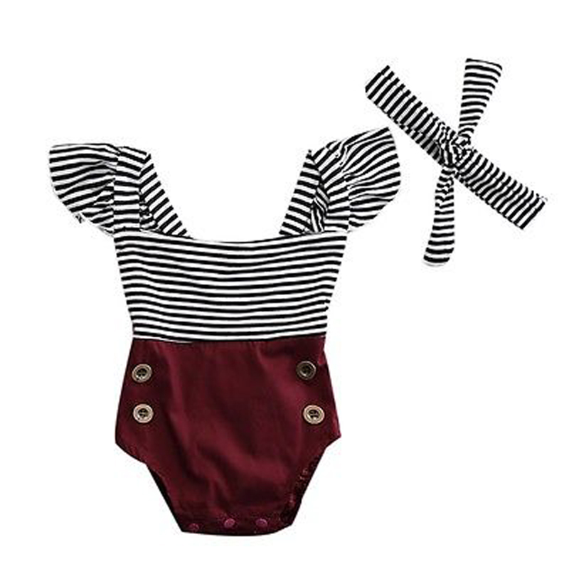 New Fashion Newborn Kids Baby Infant Girl Cotton   Romper   Off Shoulder Striped Jumpsuit Clothes Outfit Set
