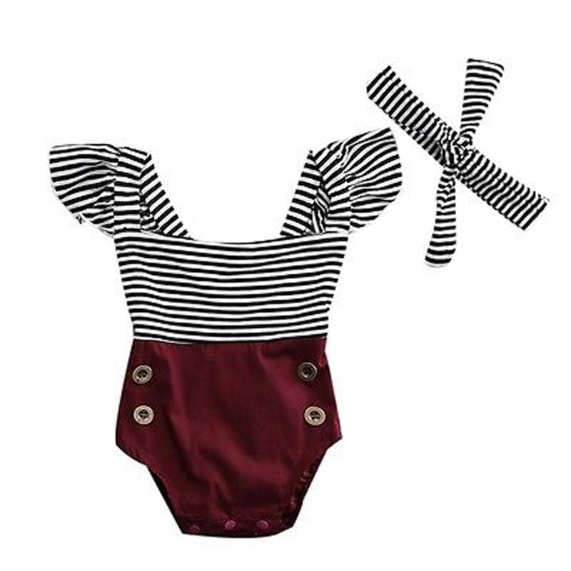 New Fashion Newborn Kids Baby Infant Girl Cotton   Romper   Off Shoulder Striped Jumpsuit Clothes Outfit Set