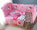 Promotion! 6PCS Hello Kitty Crib Baby Bedding set bed linen cot set Fitted Sheet Bumpers (bumper+sheet+pillow cover)