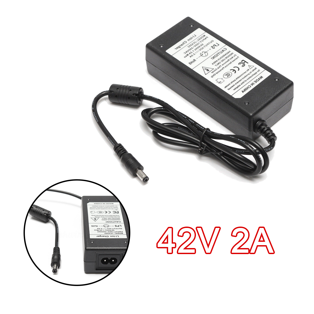 1Pcs Scooter Charger Adapter 42V 2A Power Supply Battery Charger Adapter For Electric Scooter Skateboard Accessories