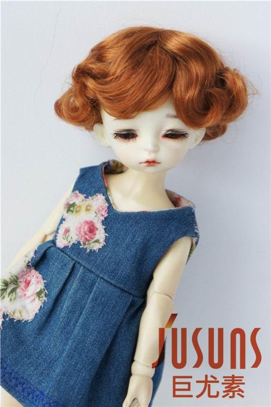 JD369 1/6 YOSD парики для шарнирных кукол модный кудрявый парик 6-7 дюймов BJD синтетический, мохеровый, для куклы парики аксессуары для кукол - Цвет: Light Carrot SM8