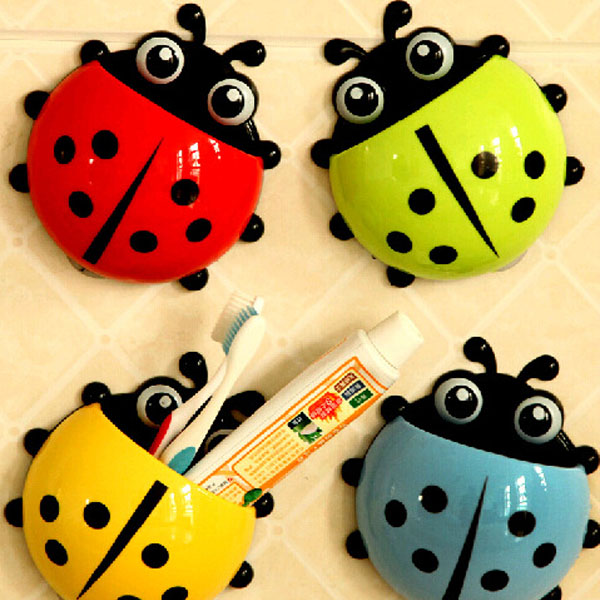 High Quality Toothbrush Holder Ladybug Toothpaste Dispenser Diy Kids Bathroom Decorations China Mainland