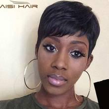 Жаропрочных чернокожих короткий черные парик прямые парики короткие женский волосы черный