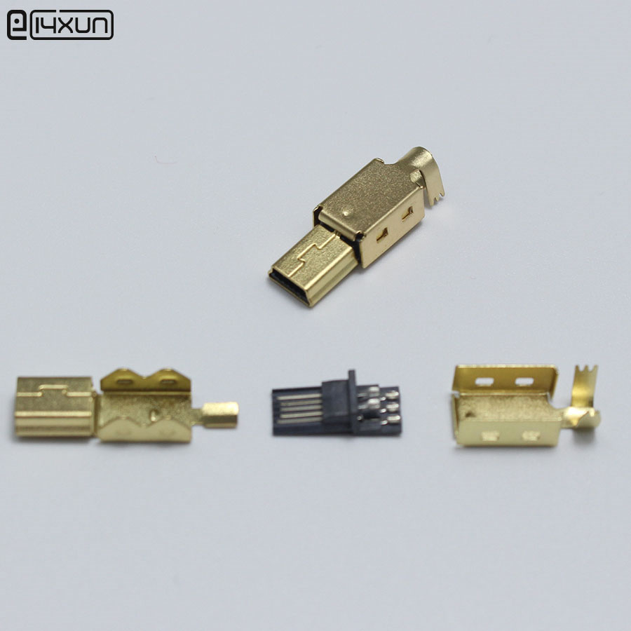 2sets Mini USB 5PIN Welding Type Male Plug Gold Plated Connectors 4P USB Tail Socket 3 In 1 DIY Adapter