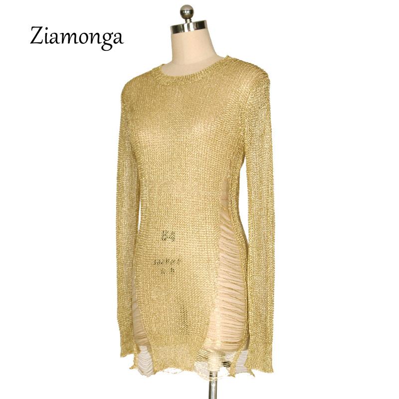 9feaa990b44 2019 Ziamonga Gold Metallic Knitted Shredded Sweater Dress Popular ...