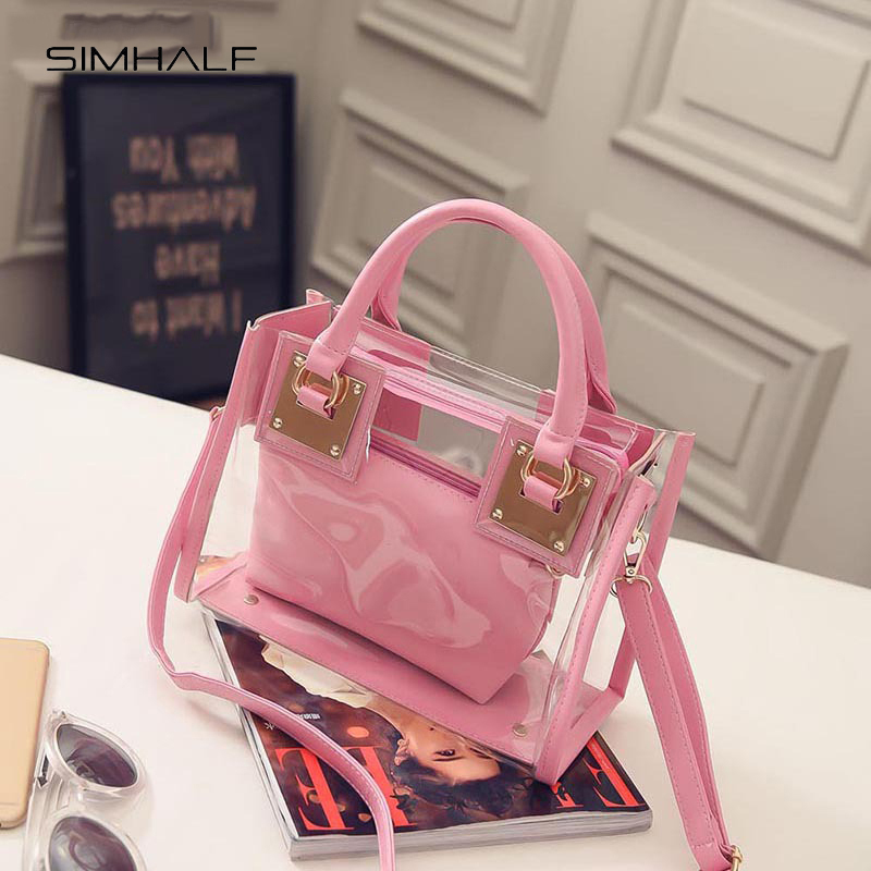 SIMHALF Transparent Bags Handbags Women Summer Beach Bag Candy Jelly Clear Plastic Bag  Girls Waterproof Shoulder Crossbody Bag