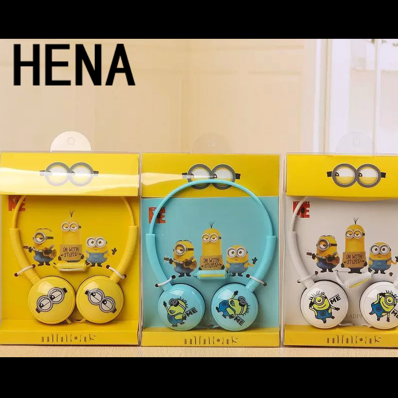 HENA Set Cute Children Headphones Big Headset with Mic for iphone Samsung Mobile Phones Foldable Minion Me Earbuds Best Gifts