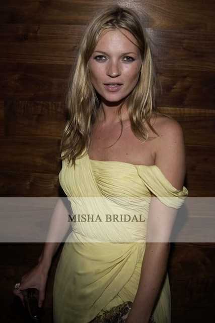 Kate Moss Yellow One-shoulder Chiffon Celebrity Cocktail Party Dress Short  Prom Dress Bridesmaid Dress 2015 36148ac1b31d
