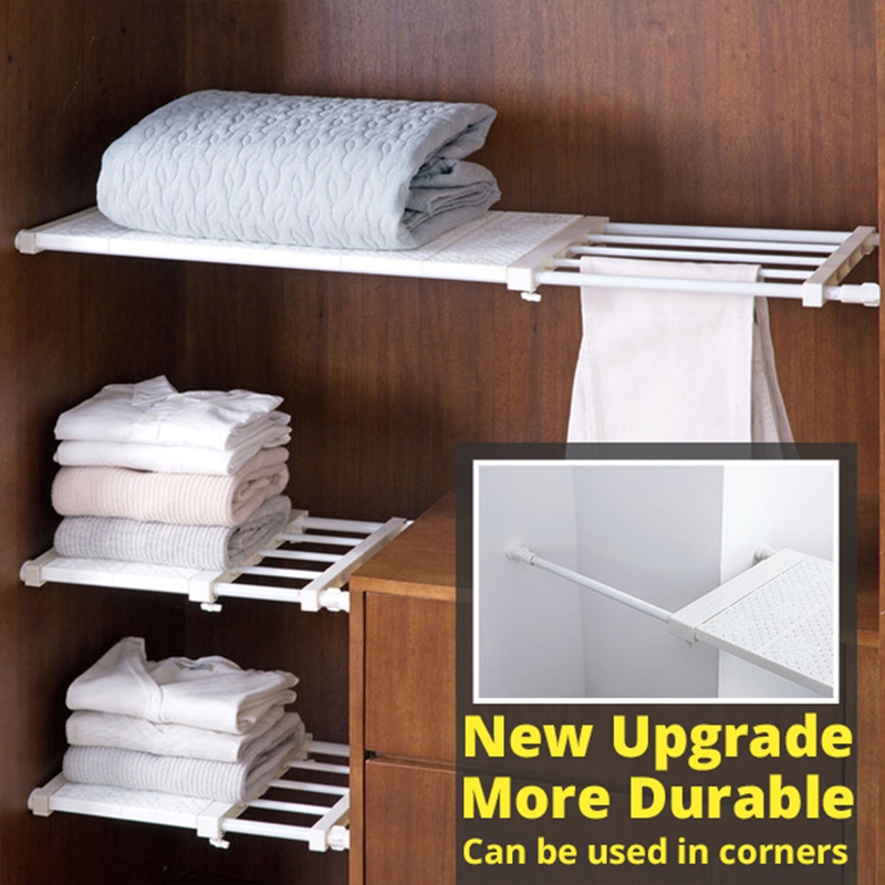 Upgraded Retractable Storage Rack for Wardrobe Cabinets Layered  Kitchen storage holder separate shelves bedroom organizer Shelf