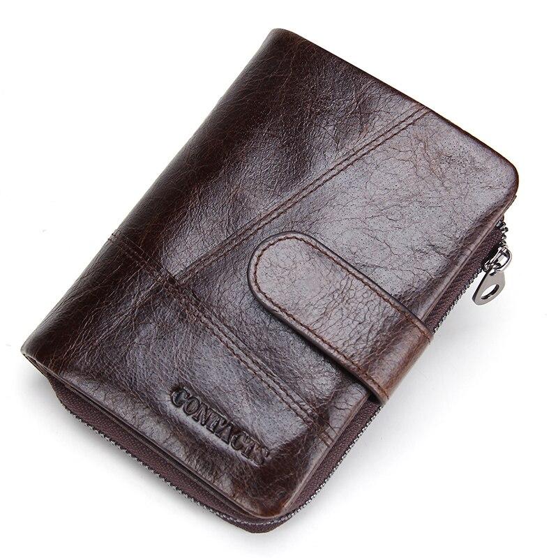 CONTACT'S 100% Genuine Leather Men's Wallet Hasp Design Vintage Men Wallets Coin Purse Short Male Wallet Man Portomonee Walet 1