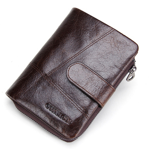 Image 2 - CONTACTS 100% Genuine Leather Mens Wallet Hasp Design Vintage Men Wallets Coin Purse Short Male Wallet Man Portomonee Walet