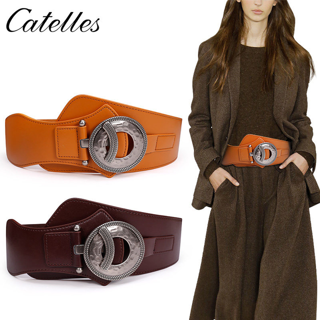 b01a59f119 Catelles Wide Metal Interlock Buckle Womens Elastic Waist Belt Cinch Elastic  Leather Wide Women Dress Belts