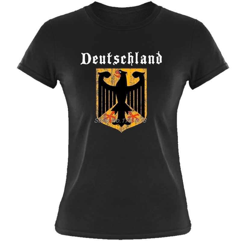 Deutschland флаг крест Германия орел Socceres футболист футболка Для женщин хлопок o-образным вырезом футболка с коротким рукавом Футболка для девочек Футболки-топы