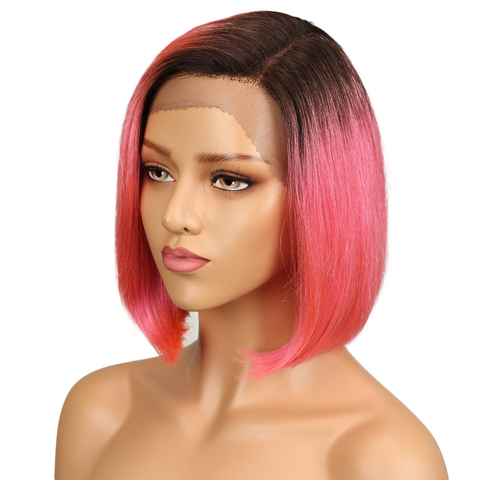 SLEEK Silky Straight Short Bob Lace Front Human Hair Wigs For Women Two Tone 2/Pink Color Middle Part Ombre Part Lace Wig Lahore
