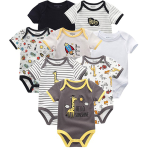 Image 2 - 2020 8PCS/lot Clothing Sets Cotton Newborn Unicorn Baby Girl Clothes Bodysuit Baby Clothes Ropa bebe Baby Boy Clothes