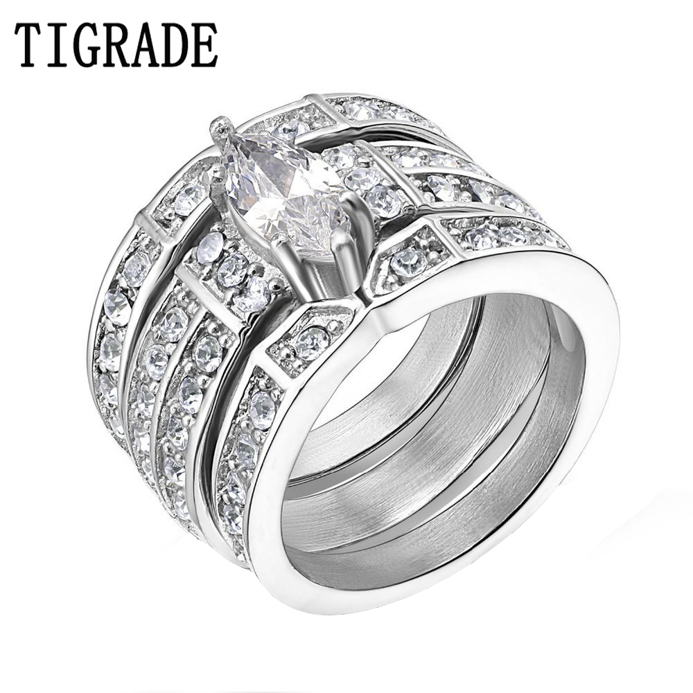 Tigrade Silver Stainless Steel Marquise Cubic Zirconia Wedding Ring Set  Women Engagement Ring With Matching Channel