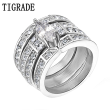 TIGRADE Silver Stainless Steel Marquise Cubic Zirconia Wedding Ring Set Women Engagement Ring with Matching Channel Set